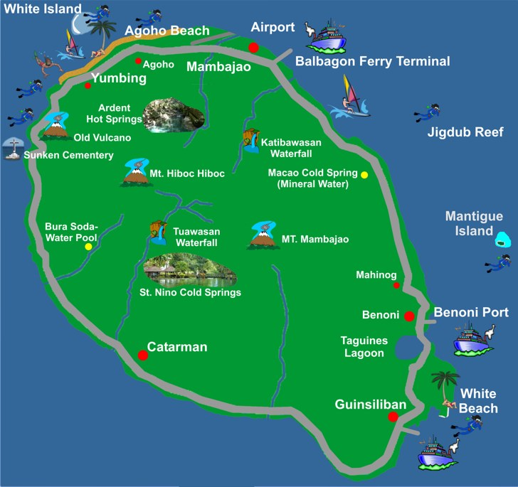 Map of Camiguin Island Philippines – Philippines Tourist Attractions Map